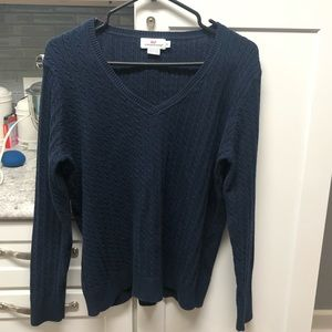 Vineyard Vines Navy Cable Knit Vneck Sweater